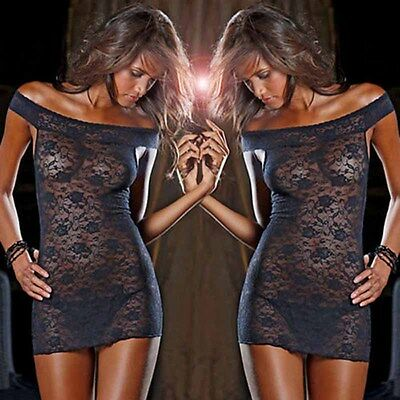 Sexy Women's Lingerie Nightwear Black Lace Dress + G-string Sleepwear Babydoll