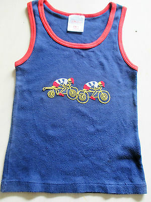 Boys M & S navy T-shirt retro vintage age 8-9-10 yrs bicycle cyclist tour