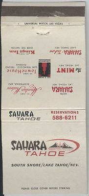 Matchbook Cover - Sahara Tahoe, Lake Tahoe, Nevada