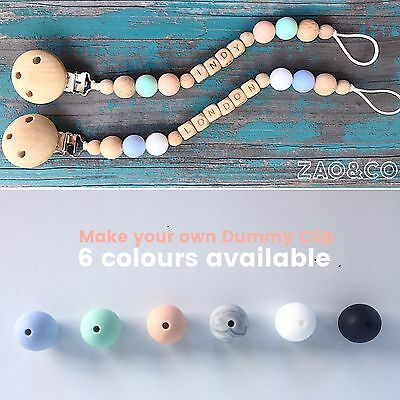 Dummy Pacifier Chain Teether Clip Holder Wood Silicone Baby Name custom Gift