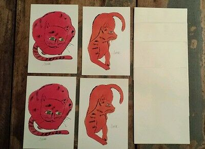 4 Andy Warhol Sam Cat Notecards 1990 Printed in Germany
