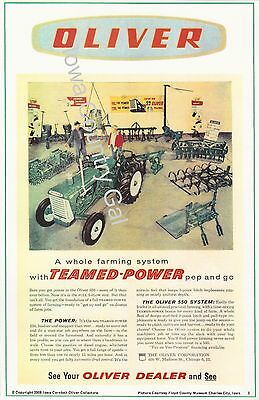 New Oliver Teamed Power Laminated Poster Featuring The Oliver 550 Tractor System