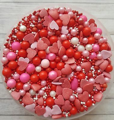50g Mixed Valentines sparkle sprinkles,edible cake/cupcake toppers.