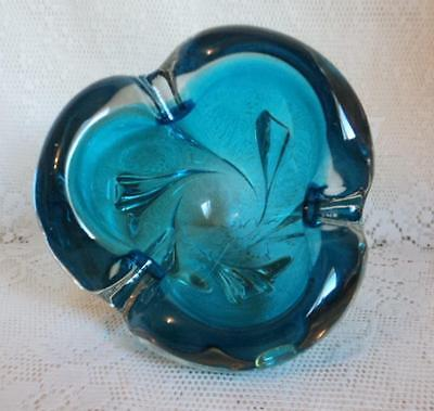 Vintage Chalet Lorraine Ultra Marine Blue Extra Thick Sommerso Art Glass Bowl