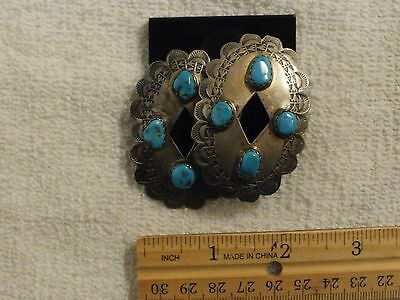 """VTG 1940's  2+"""" STERLING SILVER TURQUOISE CONCHO EARRINGS"""