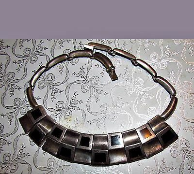 vtg modernist taxco sterling silver onyx curved squares necklace antonio pineda?