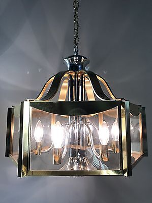 Vintage Mid Century Chandelier Fixture Brass Atomic Sputnik UFO Danish Light Mod