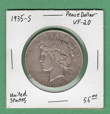 1935-S United States Peace Dollar Silver Coin- VF-20