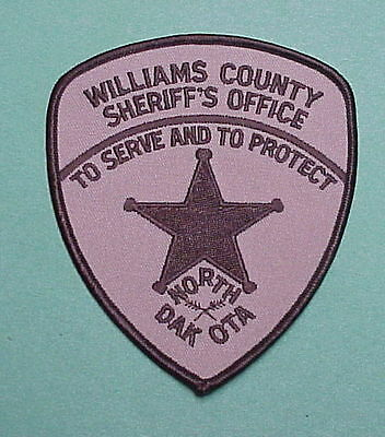 Williams County  North Dakota  Nd  Sheriff / Police Patch  Free Shipping!!!
