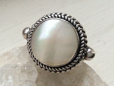 Sterling Silver And Genuine Mabe Pearl Ring. Size N. Comes Boxed.