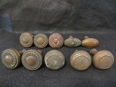 10 Antique Highly Decorative Brass and Cast Iron Door Knobs Unusual Attachment