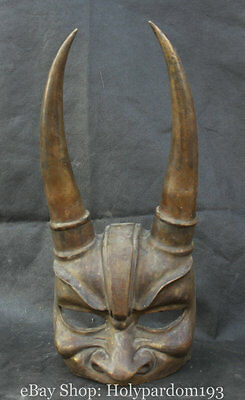 """16"""" Old Chinese Copper Oxen Bull Horn King Oni Ghost King Demon Statue Mask"""