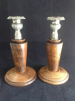 Pair Wooden Candlesticks with White Metal Tops Beautiful Vintage/ Retro