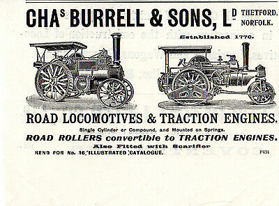 Chas Burrell & Sons, Thetford - Traction Engines - Engineer Advertisement(1913)