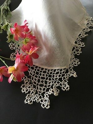 Antique White Linen And Tatted Lace Wedding Handkerchief
