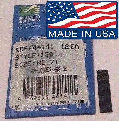 #71 Drills (QTY 12 PACK) by Greenfield Industries MADE IN USA No. 71 0.026 HSS