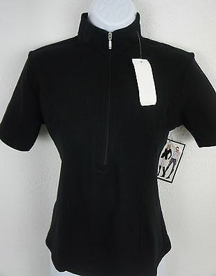 New! Womens Goode Rider S Ideal Show Shirt Black Cotton Lycra Fitted Top