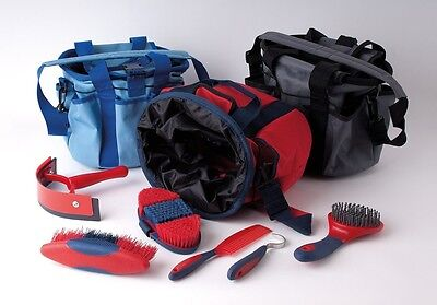Rhinegold Soft Touch Grooming Bag/kit Brush Set Comb,pick Blue Worldwide Ship