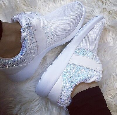 Womens Ladies White Glitter Sparkle Sneakers Trainers Running Shoes Gym Pumps