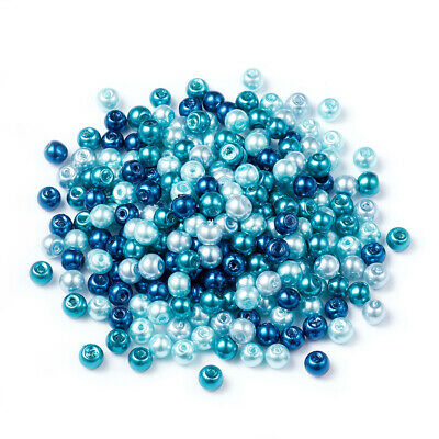 Pearlized Glass Pearl Beads Mixed Color Carribean Blue ( 4/6/8mm in diameter )