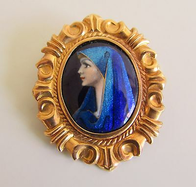 ANCIENNE BROCHE OR ET EMAIL SIGNEE MERCIER old french gold and enamel brooch