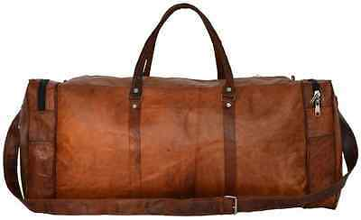 Leather- Vintage Brown Mens Leather Travel  Duffel Gym Overnight Bag Luggage