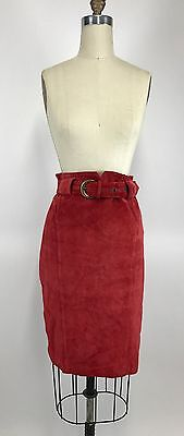 Vintage 80s Cherry Red Leather Suede High Waisted Belted Pencil Skirt 10