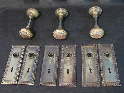 ONE Pair of Antique Brass Egg and Dart Door Knobs and Backplates (3 Available)