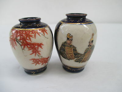 Two Vintage Japanese Miniature Satsuma Vases with markings on Bottom of Both