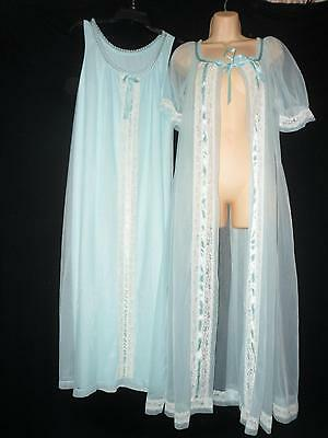 Vtg NEW TOSCA Sheer Chiffon Peignoir Robe Nightgown Lace LARGE L Gown BLUE Nylon