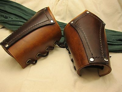 Leather Bracers Renaissance Medieval Pirate brown