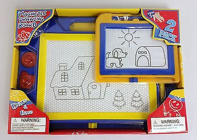NEW Magnetic Drawing Board 2-Pack Stampers - Fun To Draw Easy To Erase Kids 3+
