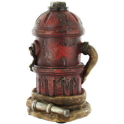 """7"""" Fire Hydrant with Fire Hose Fireman's Coin Bank Statue, Figurine. Great Gift"""