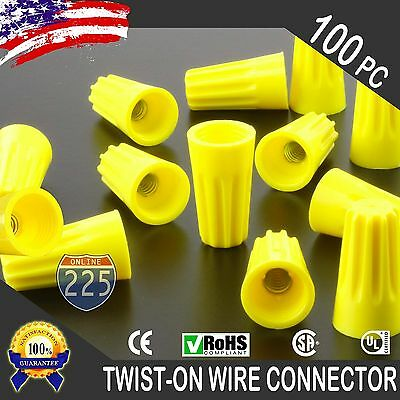 (100) Yellow Twist-On Wire GARD Connector Conical nuts 18-12 Gauge Barrel Screw