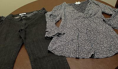 Size 8 Maternity Outfit. Black Stretch Jeans, Long Sleeve Dressy Top / Shirt.