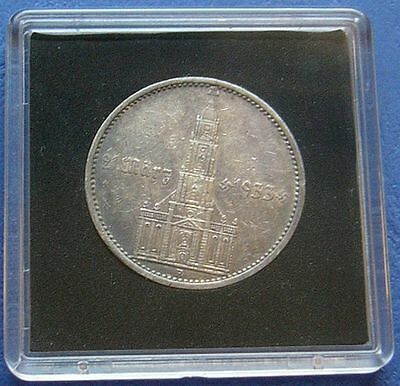 5 Reichsmark 1934 A Silver Coin KM#82 3rd Reich Eagle Garrison Church With Date