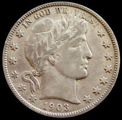 1903 O Silver United States Barber Half Dollar Coin Extremely Fine Condition
