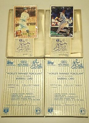 """Topps """"Dugout Collection"""" Babe Ruth and Frank Thomas Porcelain Baseball Cards"""