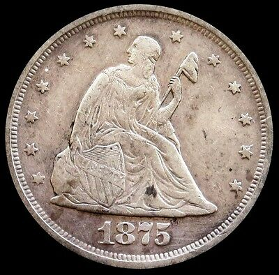 1875 S Silver United States Seated Liberty Twenty Cent Piece Very Fine Condition
