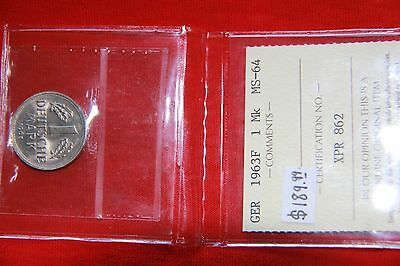 Germany 1963F 1 Mark ICCS certified MS-64