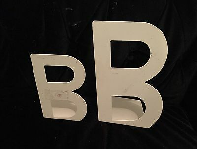 Ikea Cream Metal B Letter Book-ends X 2 BUSBASSE White New