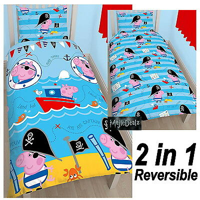 Peppa Pig George Pirate Single Duvet Cover Set 100% Official Free P+P Kids New