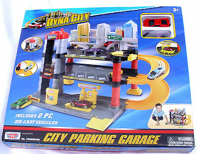 Motormax Dyna City Multi-Level Parking Garage With 2 Sports Cars New In Box