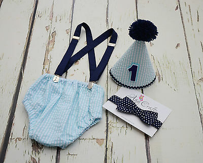 Blue themed Cake smash outfit for boy,Handmade 1st Birthday Outfit
