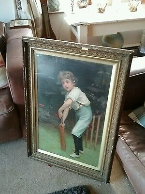Victorian pears print , boy playing cricket in aged ornate gilt decorative frame