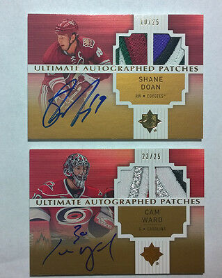 07-08 UD Ultimate Cam Ward #23/25 Auto PATCH gold Autographed Patches Hurricanes