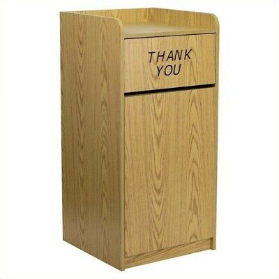Flash Furniture Wood Tray Top Receptacle in Oak Transitional Trash Can