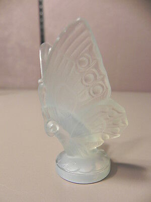 Sabino France Open Wing Butterfly Figurine Frosted Opalescent Glass Signed