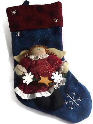 """Felt Christmas Stocking 18"""" Red Navy Blue With Plush Stuffed Country Style Angel"""