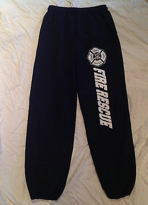 Fire Rescue Firefighter Sweatpants Navy Blue Jogging Clothing Size Small